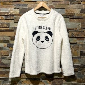 Faux fur Panda 'Let Me Sleep' Pajama Top - NWT